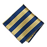 TieMart Pale Gold and Twilight Blue Striped Pocket Square