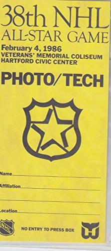 Star All 1986 Nhl Game (1986 38TH NHL ALL STAR GAME PHOTO TECH TICKET HARTFORD WHALERS CIVIC CENTER)