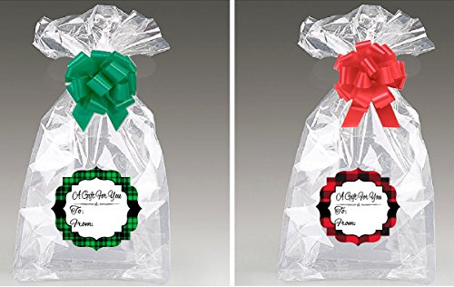 """Bundleofbeauty Brand Extra Large Super Jumbo Clear Cello/cellophane Bags Gift Basket Packaging Bags Cello Bags 30""""x40"""" -2pack with Strings & Gift Tags (Red/Green Plaid)"""