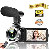 Camcorder Digital Video Camera, Camcorder with Microphone IR Night Vision Vlogging Camera with Remote Control Full HD 1080P 30FPS 3' LCD Touch Screen
