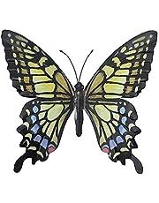 Decoración para jardín con forma de mariposa, metálica, colorida y grande, decoración para pared, de 31x 35cm