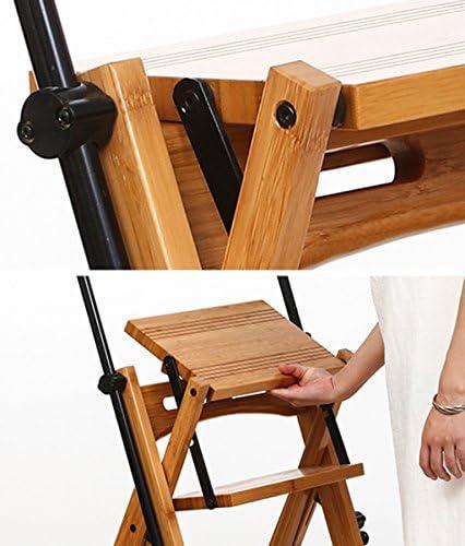 CAIJUN Chaises Sièges Escalier Mobile Télescopique Déformation Tabouret À Double Usage Étagères Pliantes Dossier en Bambou Chair Ladder