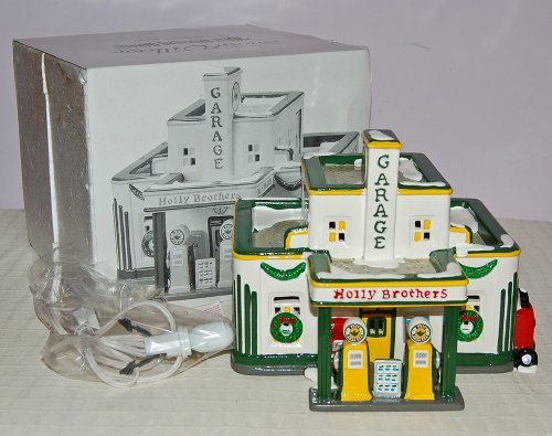 The Original Snow Village Holly Brothers Garage Mib  By Department 56