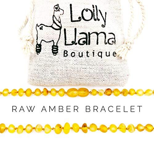 Raw Amber Teething Bracelet for Babies (Unisex) Teething Pain Relief - Certified Genuine Baby Baltic Amber Bracelet (Honey)