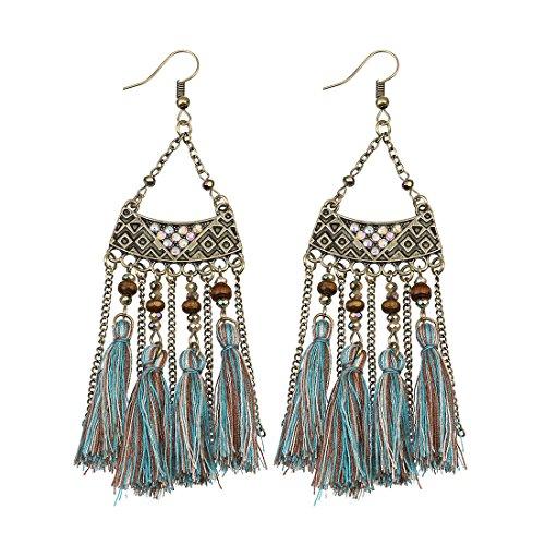 Linsoir Beads Bohemian Tassel Earrings Long Bronze Chain Tassels Dangle Earrings Chandelier Earrings Large Chandelier Earrings