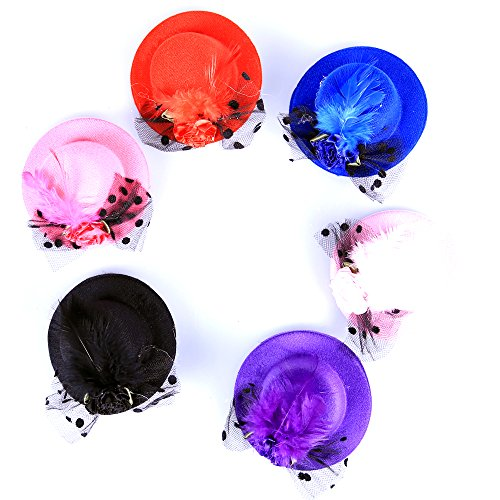 Top Hat Fascinators (Anleolife Kids Hats Fascinators/Baby Mini Top Hat Hair Clip/Pets PoodlesTop Hat/Girls Hair Accessories Fascinator Party Hats Dancing Cocktail Feather Headband Hair Clip 3.2inch Pink/Black/Red/Blue/Purple 5pcs/lot Sweet Girl Kid Lady)