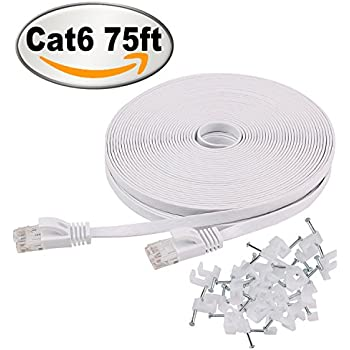 Cat 6 Ethernet Cable 75 ft White with Cable Clips – Flat Internet Network Cable – Cat 6 Computer Lan Cable - Cat6 Ethernet Patch Cable With Snagless Rj45 Connectors – 75 feet White ( 22 Meters )