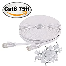 Cat 6 Ethernet Cable 75 ft Flat with Clips, Durable Long Internet Network LAN Patch Cords, Solid Cat6 High Speed Computer wire with RJ45 Connectors for Router, Modem, PS, Faster Than CAT5E/Cat5, White 75 Bundled with the 20 cable clips, so no need to buy them elsewhere High Performance Cat6, 30 AWG, UL listed, RJ45 Ethernet Patch Cable provides universal connectivity for LAN network components such as PCs, computer servers, printers, routers, switch boxes, network media players, NAS, VoIP phones Cat 6 standard provides performance of up to 250 MHz and is suitable for 10baset-t, 100BASE-TX(Fast Ethernet), 1000baset-t/1000base-tx(gigabit ethernet)and 10gbase-t(10-gigabit Ethernet)