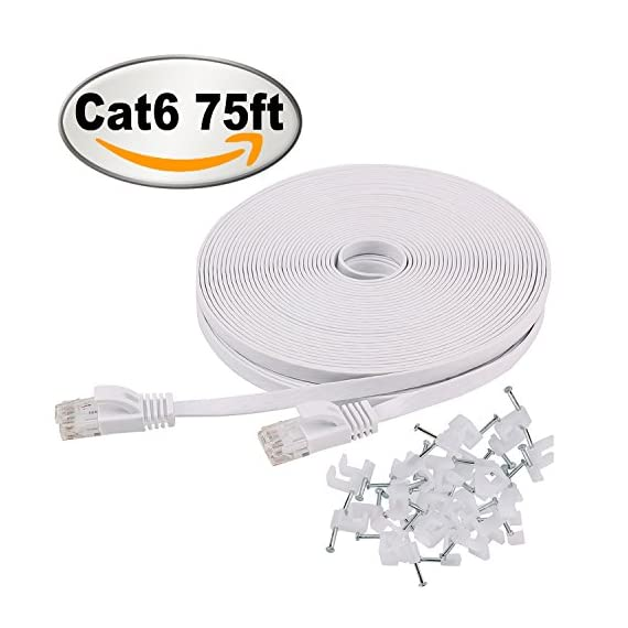 Cat 6 Ethernet Cable 75 ft Flat with Clips, Durable Long Internet Network LAN Patch Cords, Solid Cat6 High Speed… 1 Bundled with the 20 cable clips so no need to buy them elsewhere High Performance Cat6 30 AWG UL listed RJ45 Ethernet Patch Cable provides universal connectivity for LAN network components such as PCs computer servers printers routers switch boxes network media players NAS VoIP phones Cat 6 standard provides performance of up to 250 MHz and is suitable for 10baset-t 100BASE-TX(Fast Ethernet) 1000baset-t/1000base-tx(gigabit ethernet)and 10gbase-t(10-gigabit Ethernet)