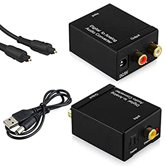DAC Converter, Digital Optical Coax to Analog RCA L/R Audio Converters with 1.5