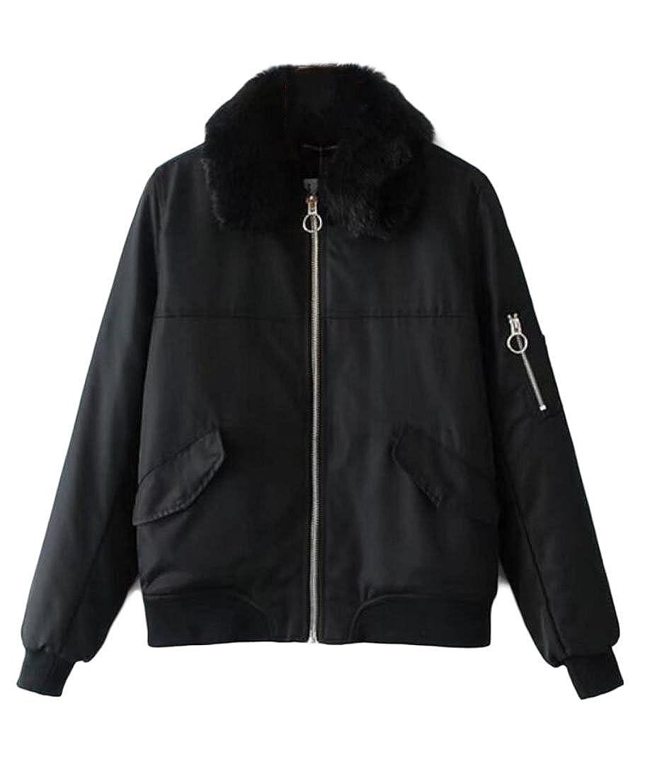 Black omniscient Women's Winter Classic Faux Fur Collar Biker Jacket Zip Up Bomber Coat