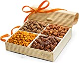 SimplyCrave Holiday Gift Tray, 4 Sectional Nuts Gift Box with Stunning Presentation – Gourmet Christmas Gift Baskets by Simply Crave For Sale