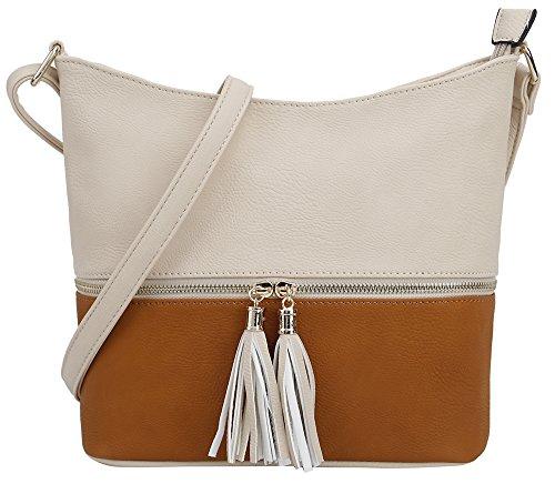 (DELUXITY Medium Size Hobo Crossbody Bag with Tassel/Zipper Accent (Nude/Cognac) )