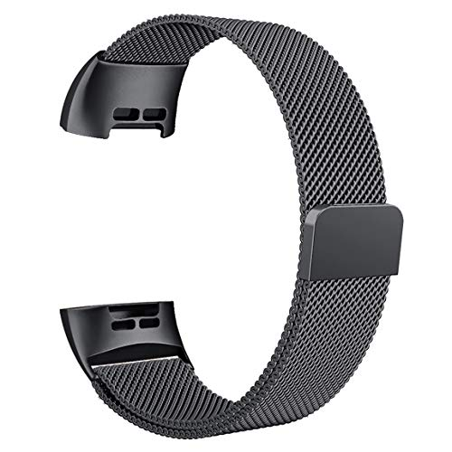 Maledan Metal Bands Compatible with Fitbit Charge 3 & Charge 3 SE, Stainless Steel Mesh Milanese Loop Magnetic Band Replacement Accessories Bracelet Strap with Unique Magnet Lock, Space Gray, Large