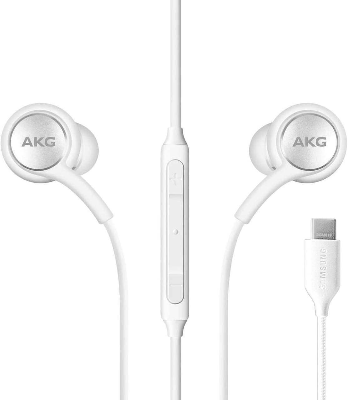 ElloGear 2020 Earbuds Stereo Headphones for Samsung Galaxy Note 10, Note 10+, Galaxy S10, S9 Plus, S10e - Designed by AKG - Braided Cable with Microphone and Volume Remote Type-C Connector - White