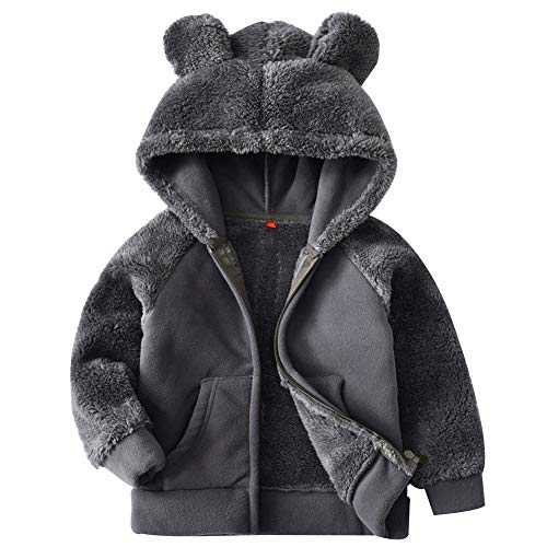 Goodkids Bear Ears Shape Fleece Warm Hoodies Clothes Toddler Zip-up Light Jacket Sweatshirt Outwear for Baby Boys Girls (Gray ()