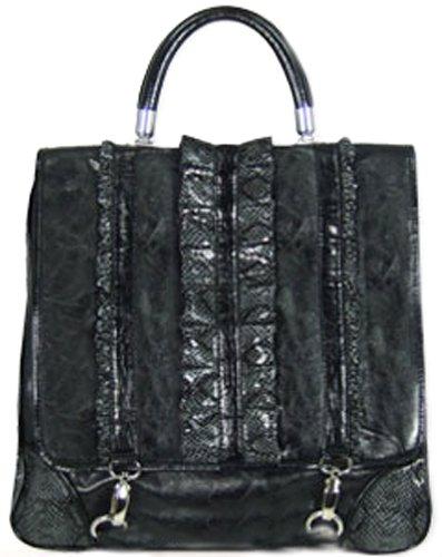 Melie Bianco Black Top Handle Bag W/ruffled Python Trim