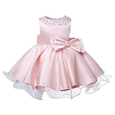 fc5e881f40be8 ZTXHRS Baby Girls Dress Wedding Party Formal Dress Beaded Birthday Infant  Dress (3T) Pink