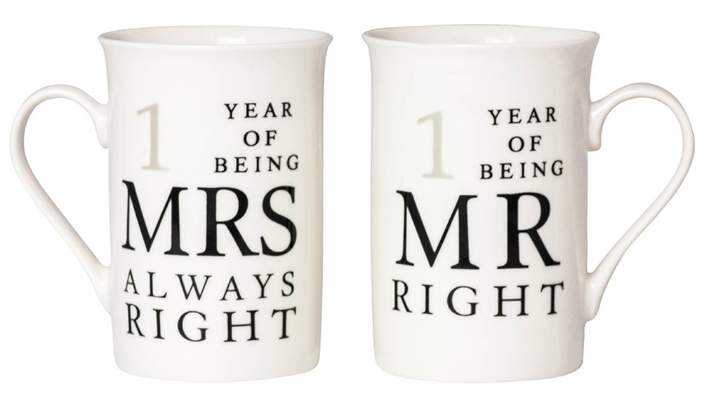 Ivory 1st Anniversary Mr Right & Mrs Always Right Mug Gift Set by Haysoms