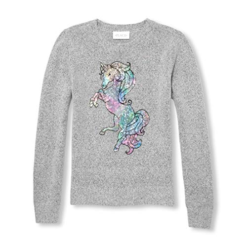 Places Girl Kids Sweatshirt - The Children's Place Big Girls Long Sleeve Sweaters, Heather/T Grey M (7/8)