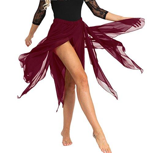 - YiZYiF Women's Chiffon Handkerchief Hemline Dance Dress Flowy Asymmetrical Skirt Wine Red One Size