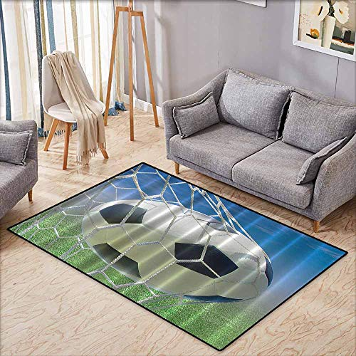 (Skid-Resistant Rug,Sports,Soccer Goal Net Football Games Photo Design Field Grass Sky Ball for Teens and Kids,Anti-Static, Water-Repellent Rugs,4'11
