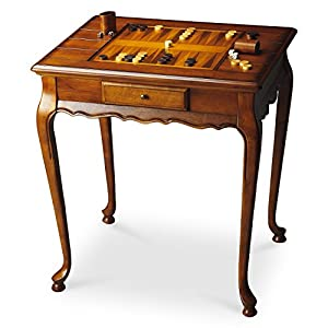Tables - Wellington Game Table - Olive Ash Burl - Chess - Checkers - Backgammon - Accent Furniture