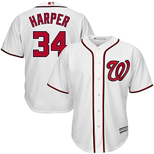 Youth Jersey Washington Home Nationals (Bryce Harper Washington Nationals Youth Cool Base Home White Replica Jersey Small 8)
