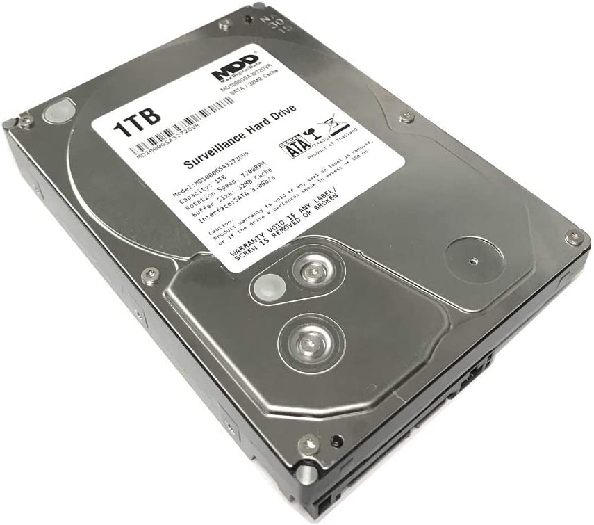 "MaxDigitalData 1TB 32MB Cache 7200PM SATA 3.0Gb/s 3.5"" Internal Surveillance CCTV DVR Hard Drive (MD1000GSA3272DVR) - w/ 2 Year Warranty (Renewed)"