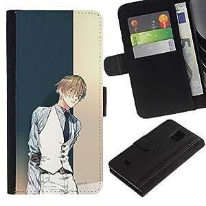 Billetera de Cuero Caso Titular de la tarjeta Carcasa Funda para Samsung Galaxy S5 Mini, SM-G800, NOT S5 REGULAR! / Anime Guy Tux Vest Fashion Cartoon / STRONG