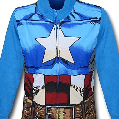 Captain America Costume Kids Zipper Hoodie with Mask- Youth Large (10-12) (Captain America Hoodie With Mask compare prices)