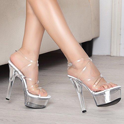 Single shoes - female- Chaussures pour femmes - L'Europe et les Etats-Unis sexy super haut talon 15cm cristal transparent très bien avec des sandales ( Couleur : Transparent , taille : 37-Shoes long23 Transparent