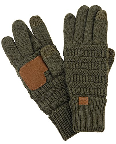 (C.C Unisex Cable Knit Winter Warm Anti-Slip Touchscreen Texting Gloves, Dark Olive)