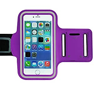 Purple Armband Exercise Workout Case with Keyholder for Jogging fits Samsung Galaxy Note Edge. For Arms up to 12 inches big.