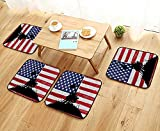 Printsonne Modern Chair Cushions God Bless America Silhouettes of American Brave Soldiers USA Flag Background Valo Convenient Safety and Hygiene W23.5 x L23.5/4PCS Set