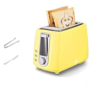 2 Slice, Retro Small Toaster with Bagel, Cancel, Defrost Function, Extra Wide Slot Compact Stainless Steel Toasters for Bread Waffles(Gift bread clip),Yellow