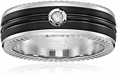 Men's Black Sapphire Tungsten One Diamond 8mm Cobalt Interior Groove Pattern Edge Comfort Fit Wedding Band