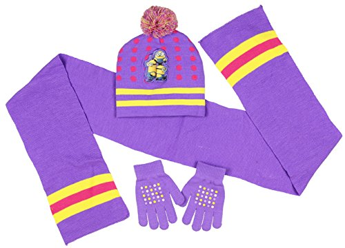 [Despicable Me Little Girls' Minions Beanie Hat Gloves and Scarf] (Despicable Me Minion Hats)