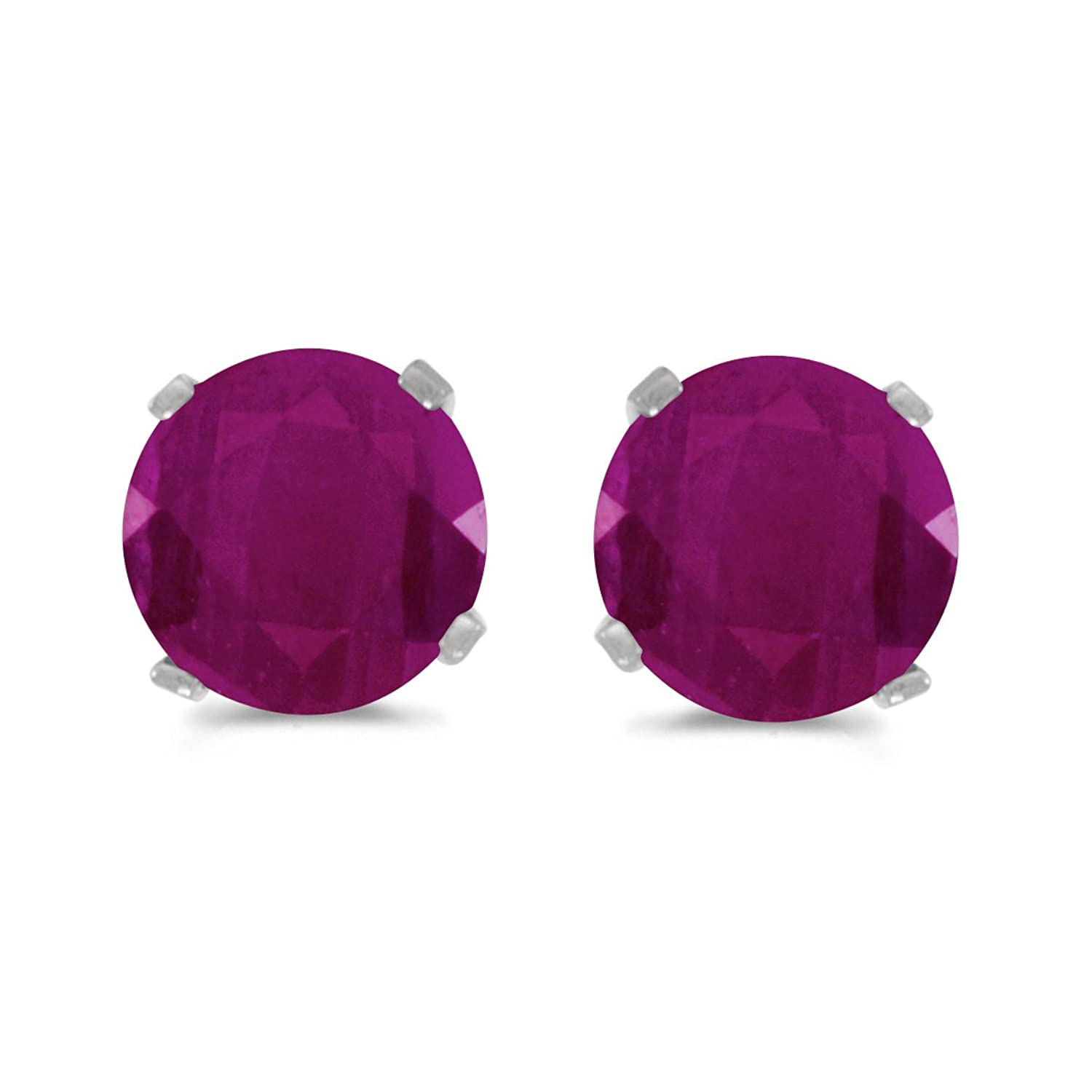 1 Carat Total Weight Natural Round Ruby Stud Earrings Set in 14k White Gold
