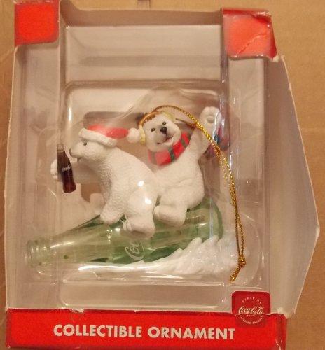 (Coca-Cola Collectible Ornament Polar Bears on Coke Bottle)