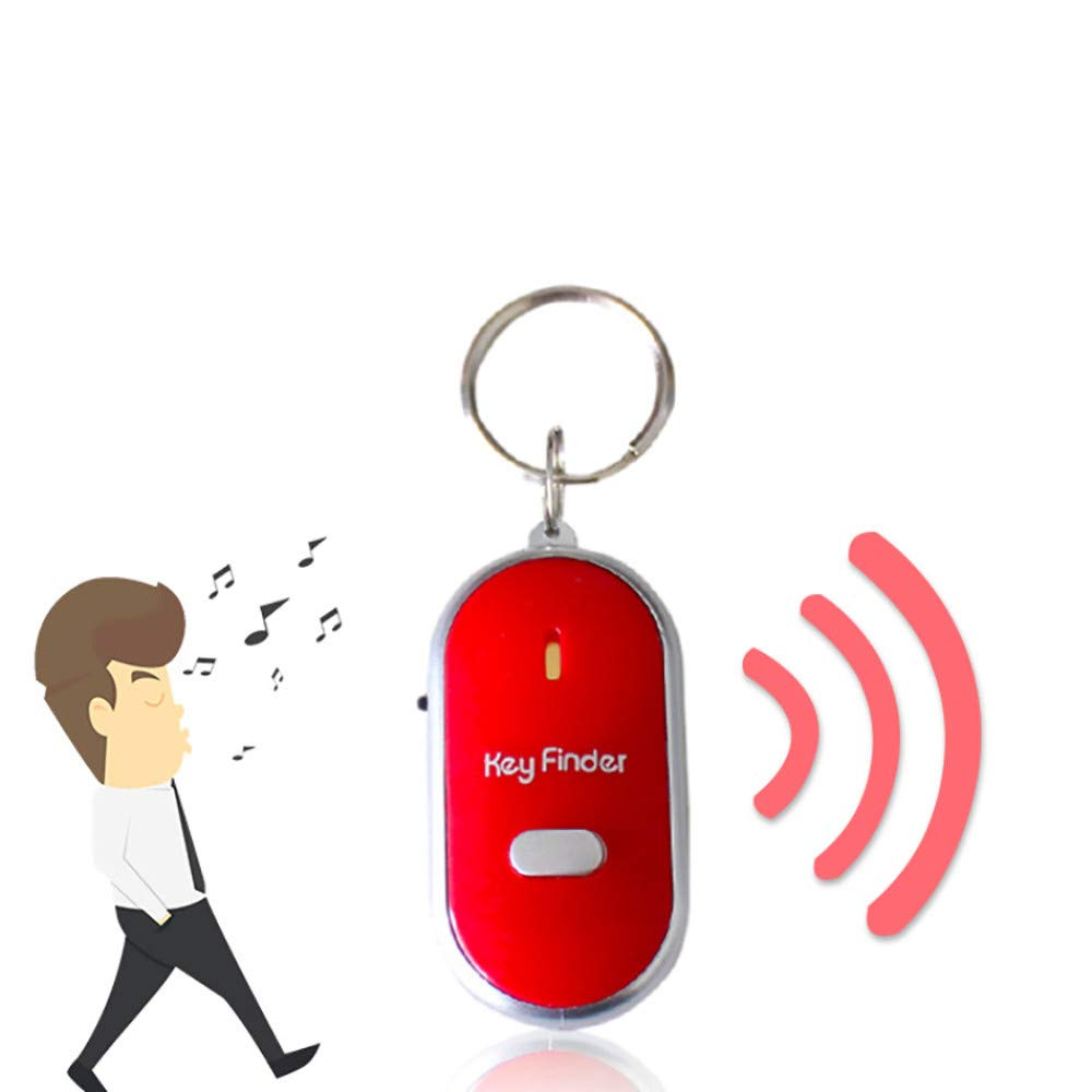 Lljin LED Light Torch Remote Sound Control Lost Key Finder Locator Keychain (Red)