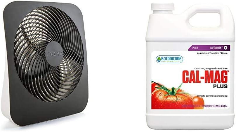Treva 10-Inch Portable Desktop Air Circulation Battery Fan - 2 Cooling Speeds - With AC Adapter & Botanicare HGC732110 Cal-Mag Plus Calcium Magnesium & Iron Plant Supplement, Quart