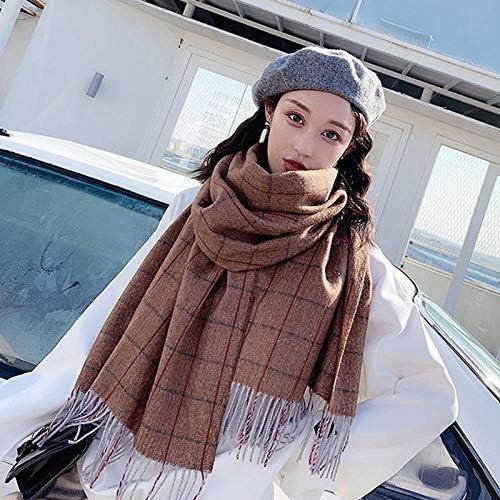 Bylydeco-deco Schal Damen Scarf Women's Autumn and Winter Thickening Wild Plaid Dual-Use Shawl Warm Tassel Collar - Caramel Co