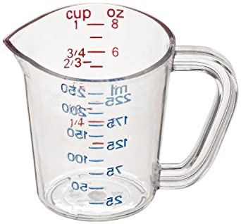 """Carlisle 4314107 Polycarbonate Measuring Cup, 8 oz. Capacity, 4 x 4.38 x 3.31"""", Clear (Case of 12)"""