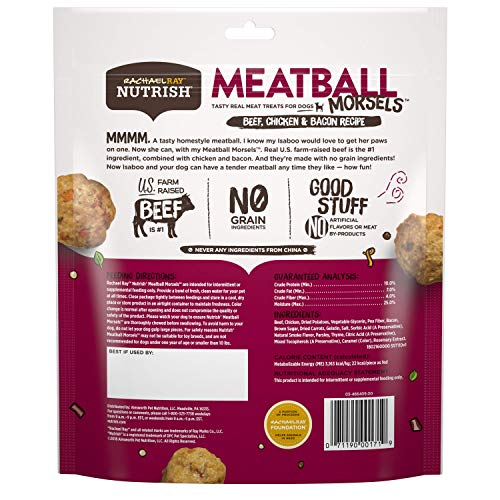Rachael Ray Nutrish Meatball Morsels Real Meat Dog Treats, Beef, Chicken & Bacon Recipe, 12 Ounces, Grain Free