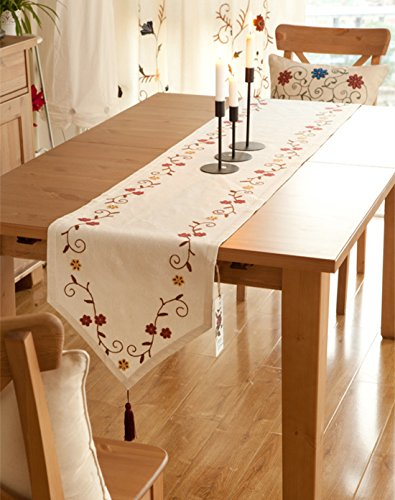 Ethomes handmade floral embroidered linen cotton table runne