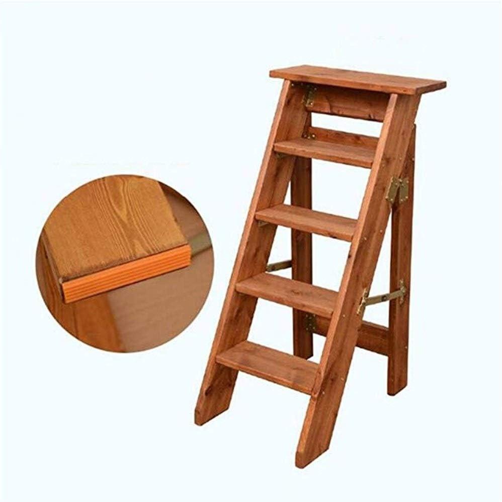 WOYQS Escalera plegable portátil Escalera pequeña multifuncional Escalera de 5 escalones Utilidad de madera Step Step Stool Flower Rack Indoor Ascend Ladder Uso portatil (Color : B): Amazon.es: Bricolaje y herramientas