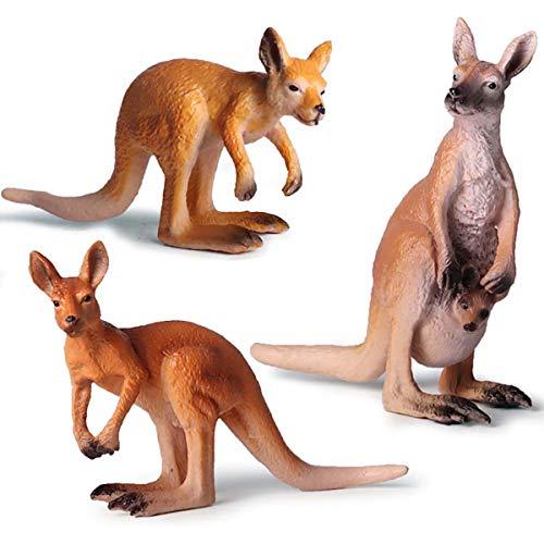 (Kolobok – Safari Animals Action Figures – Wild Kangaroos – Zoo Animals Educational Toys –3 pcs Playset)