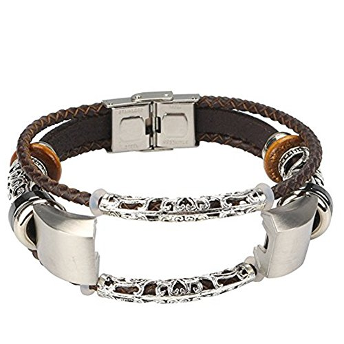 Fitbit Alta / Alta HR Bands - Alotm Vintage Fashion Alloy Leather Bangle Replacement Quick Install Band Strap For Fitbit Alta/Fitbit Alta HR (Brown)