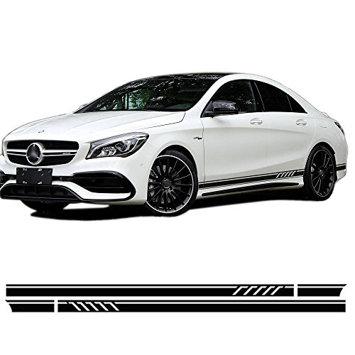 2pcs Gloss/Matte/5D Black Edition 1 Style Door Side Racing Stripe Vinyl Decal Stickers for Mercedes Benz CLA 45 W117 C117 X117 AMG (5D Carbon (Mercedes Benz Racing)